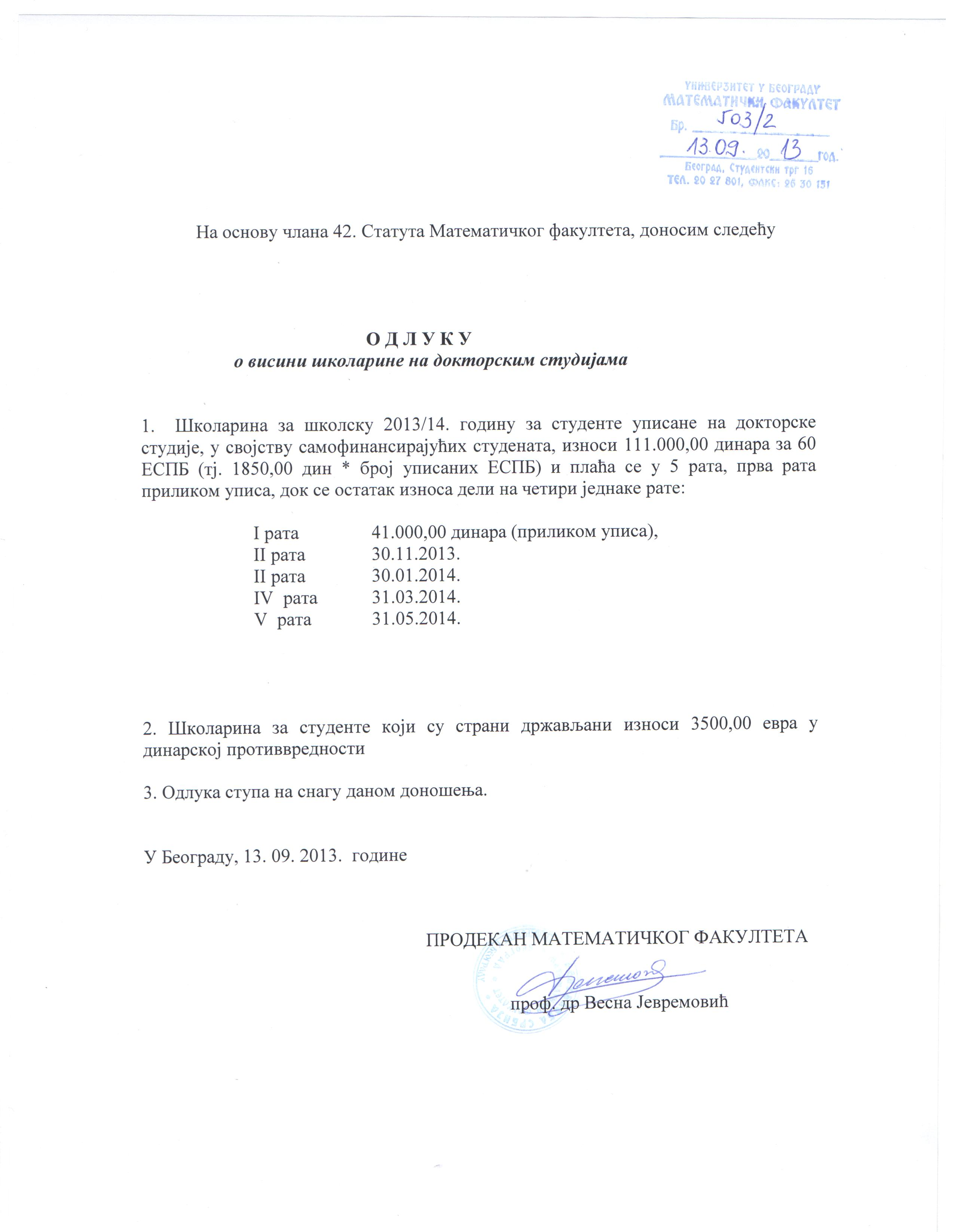 UPIS NA MASTER I DOKTORSKE STUDIJE 2013/2014. školska godina - Univerzitet u ...